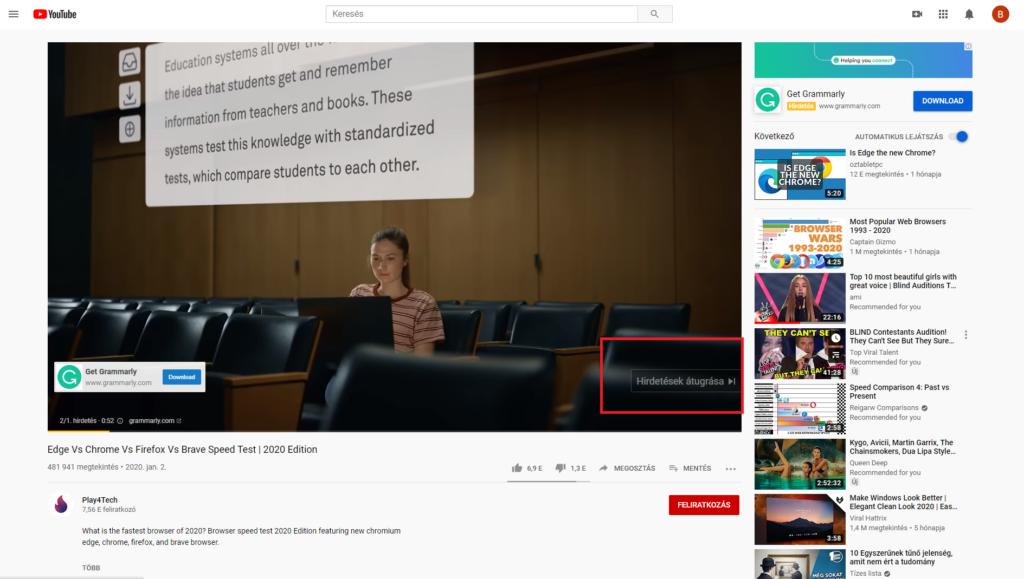mbrave böngészőt kellene használnod youtube reklám mycryptoption