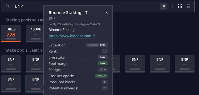 cardano binance stake pool