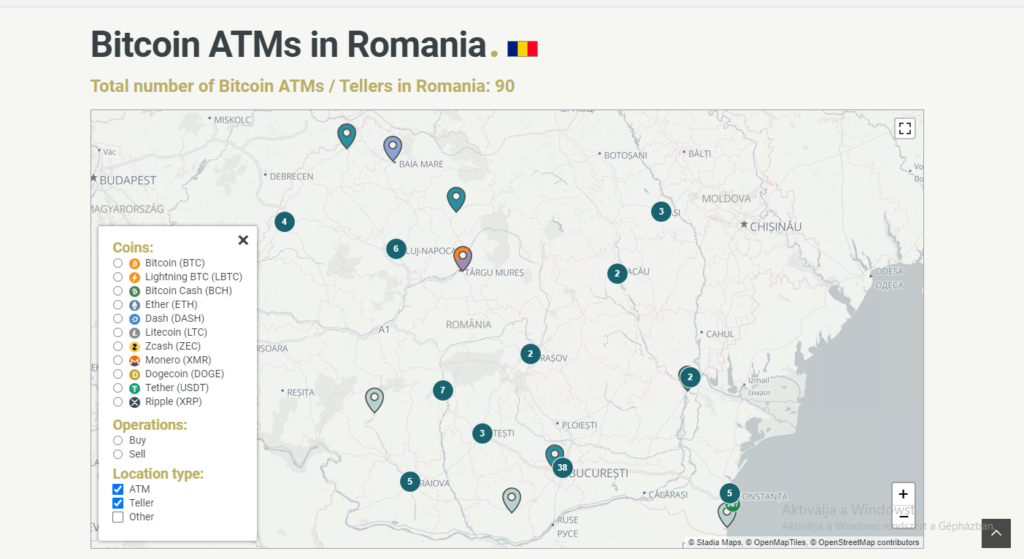 lista atm bitcoin romania cumpărare criptovalute